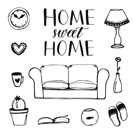 Illustration pour Set of hand drawn home interior doodles: couch, lamp, clock, cactus, slippers and other items with calligraphy phrase home sweet home for cards and posters - image libre de droit