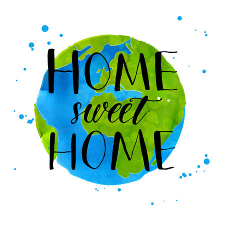 Illustration pour Hand drawn globe illustration. Watercolor Earth with handwritten calligraphy phrase home sweet home. - image libre de droit