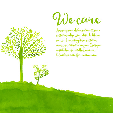 Illustration pour Green eco background with hand painted trees, grass and text we care.  - image libre de droit