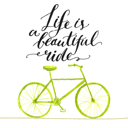 Illustration pour Inspirational quote - life is a beautiful ride. Handwritten modern calligraphy poster with green hand drawn bicycle. - image libre de droit