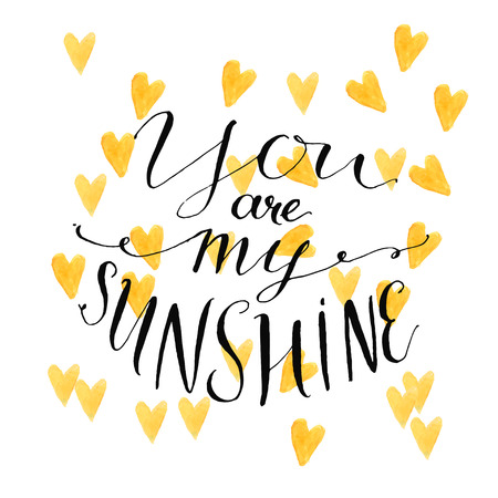 Ilustración de Yellow watercolor hearts background with modern calligraphy quote your are my sunshine. Vector design for cards - Imagen libre de derechos