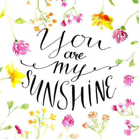 Illustration for Yellow watercolor circle with modern calligraphy quote your are my sunshine. Vector design for cards - Royalty Free Image