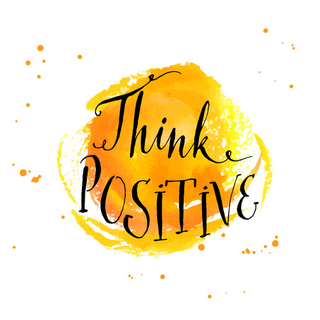 Illustration pour Modern calligraphy inspirational quote - think positive - at yellow watercolor background - image libre de droit