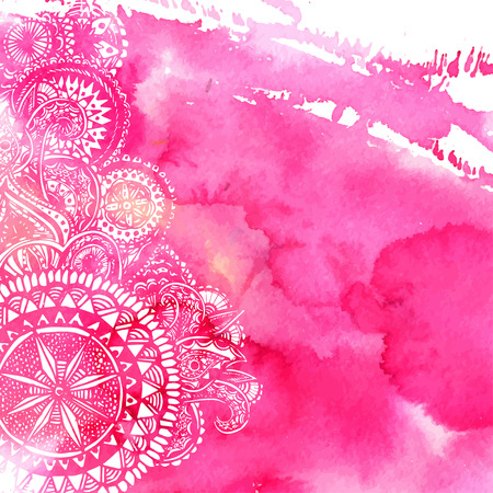 Illustration for Pink watercolor paint background with white hand drawn round doodles and mandalas. Vector design of backdrop. - Royalty Free Image