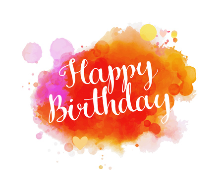Illustration for Happy birthday phrase on colorful paint texture background. Vector greeting card layout. - Royalty Free Image