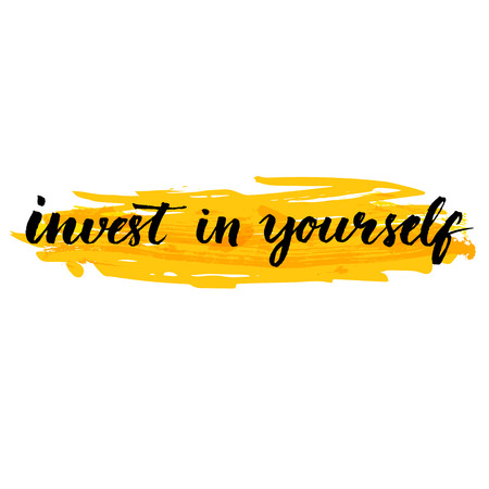 Ilustración de Invest in yourself.  Inspire quote handwritten with brush at yellow background. Quote about education and value of self investment. Vector design for motivational posters, social media content. - Imagen libre de derechos