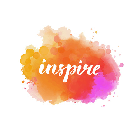 Illustration pour Inspire. Calligraphy word handwritten on bright orange and pink watercolor cloud. Inspirational quote, brush lettering for cards, posters and social media content. Vector design. - image libre de droit
