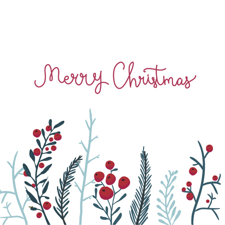 Illustration for Merry Christmas card with red berries and branches. Vector winter background. - Royalty Free Image