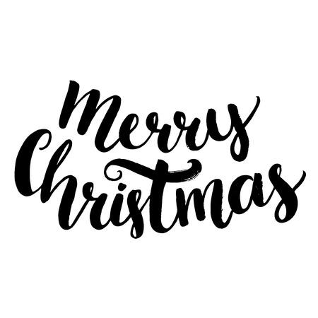 Ilustración de Merry christmas text. Brush calligraphy type, vector lettering isolated on white background - Imagen libre de derechos