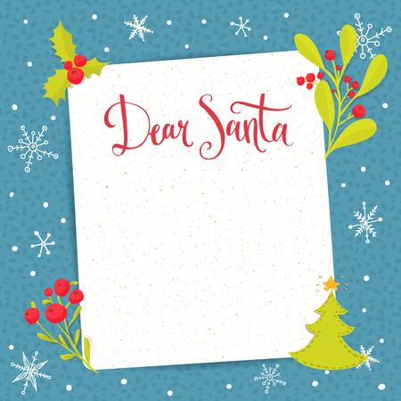 Illustration pour Dear Santa - letter to Santa Claus with copyspace at decorated Christmas background. Vector wishlist design layout. - image libre de droit