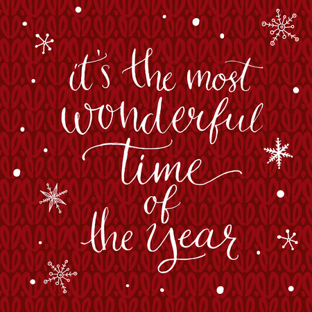 Illustration for It's the most wonderful time of the year. Inspirational quote about winter. Modern calligraphy phrase with hand drawn snowflakes at red knitted texture. Lettering for christmas greeting cards and posters. - Royalty Free Image