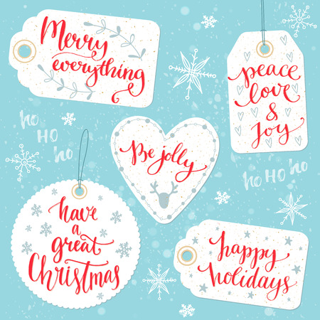 Ilustración de Christmas gift tags with calligraphy greetings: Merry everything, Peace, love and joy, Be jolly, Have a great Christmas, happy holidays. Vector design on present cards with warm wishes, custom hand lettering. - Imagen libre de derechos