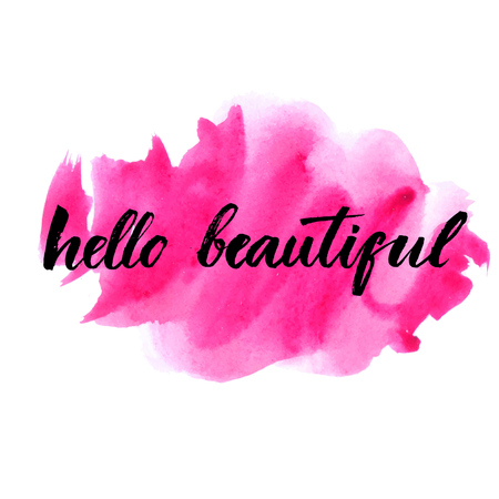 Ilustración de Hello beautiful - vector lettering with hand drawn heart. Calligraphy phrase for gift cards, baby birthday, scrapbooking, beauty blogs. Typography art. - Imagen libre de derechos