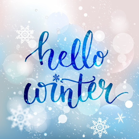 Ilustración de Hello winter text. Brush lettering at blue winter background with snowflakes and bokeh lights. Vector card design with custom calligraphy - Imagen libre de derechos