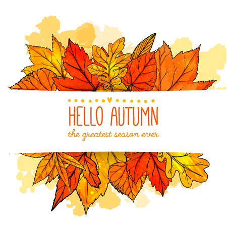 Illustration for Hello autumn banner with orange and red hand drawn leaves. Vector fall background with golden leaf. - Royalty Free Image