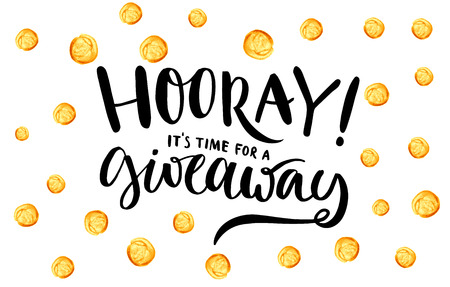 Illustration for Giveaway banner for social media contests and special offer. Vector hand lettering at gold dots confetti background. Modern calligraphy style. - Royalty Free Image