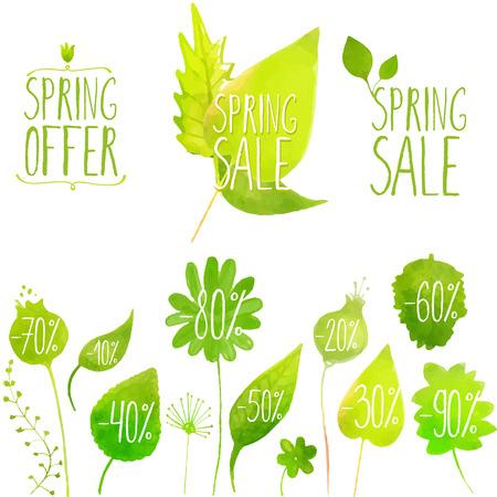 Illustration pour Spring sale vector green elements, labels and badges. Hand painted with watercolor plants, twigs, leaves. - image libre de droit