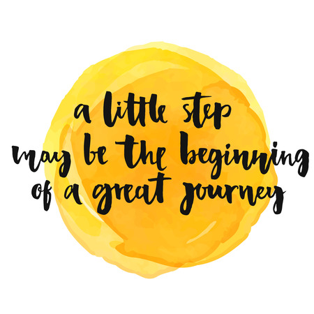 Illustration pour A little step may be the beginning of a great journey. Inspirational quote, positive saying.  Modern calligraphy text, handwritten with brush and black ink on yellow watercolor stain - image libre de droit