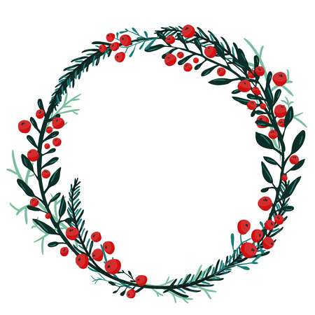 Illustration pour Hand drawn wreath with red berries and fir branches. Round frame for Christmas cards and winter design. Vector layout with copyspace - image libre de droit