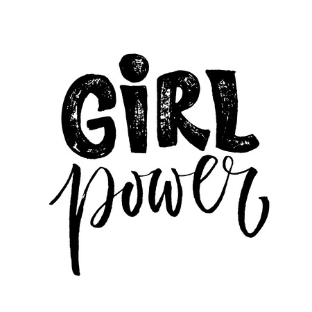 Ilustración de Girl power. Feminism quote, woman motivational slogan. Feminist saying. Rough typography with brush lettering - Imagen libre de derechos
