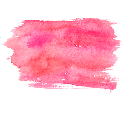 Foto de Pink watercolor stain isolated on white background. Artistic paint texture. - Imagen libre de derechos