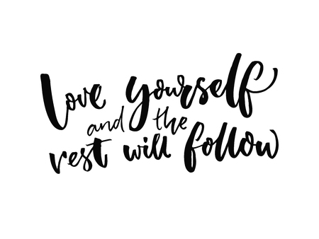 Illustration pour Love yourself and the rest will follow. Inspirational quote about self estimate and attitude. Vector inspiration saying. - image libre de droit