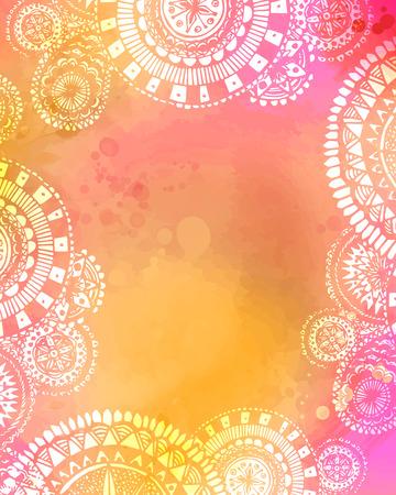Illustration pour Artistic watercolor texture with white hand drawn mandala doodles frame. Mix of pink. yellow and orange colors. - image libre de droit