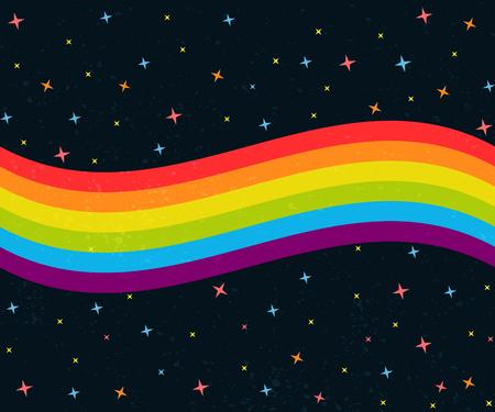 Ilustración de 6 colors rainbow wave on dark night sky with stars. Gay pride flag - Imagen libre de derechos