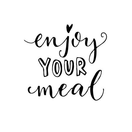 Ilustración de Enjoy your meal. Vector calligraphy for cafe cards and posters. - Imagen libre de derechos