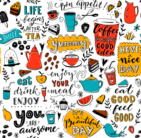 Illustration pour Cafe pattern with doodle tea pots, cups, inspirational quotes and desserts. Coffee is always a good idea. Eat good, feel good. Enjoy your meal. Seamless texture for menu design. - image libre de droit