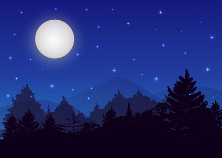 Illustration pour Vector night landscape with spruce forest, strarry sky and full moon. - image libre de droit