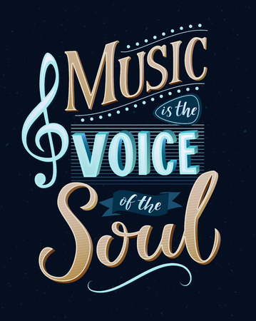 Illustration for Music is the voice of the soul. Inspirational quote typography, vintage style saying at blue background. Dancing school wall art poster. - Royalty Free Image