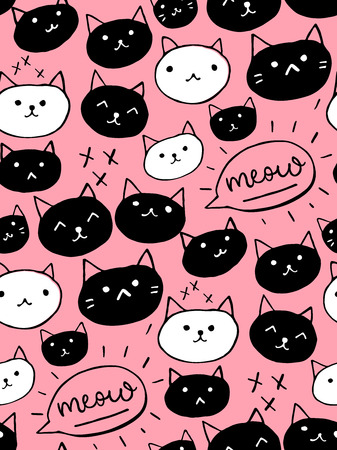 Illustration for Cute cats seamless background. - Royalty Free Image