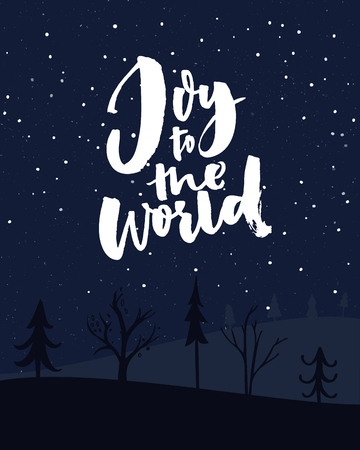 Illustration pour Joy to the world. Christmas card with night sky with falling snow and typography - image libre de droit