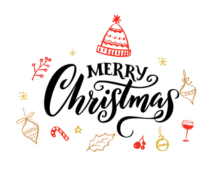 Illustration for Elegant Merry Christmas text with calligraphy swashes. - Royalty Free Image