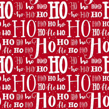 Foto de Hohoho pattern, Santa Claus laugh. Seamless background for Christmas design. Vector red texture with white handwritten words ho. Wrapping paper for gifts and presents. - Imagen libre de derechos
