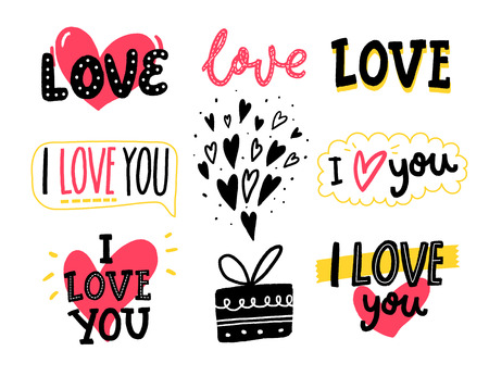 Photo pour Love words and hand drawn hearts. Set of romantic stickers for Valentines day greeting cards, wedding and social media. - image libre de droit