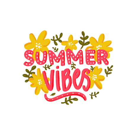 Illustration pour Summer vibes text and hand drawn yellow flowers. Hand lettering caption for cards, printes tee, inspirational posters and stationery. - image libre de droit