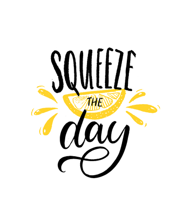 Ilustración de Squeeze the day. Motivational quote brush lettering with slice of lemon illustration on white background. Inspirational poster - Imagen libre de derechos