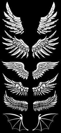 Illustration for Heraldic wings set for tattoo or mascot design - Royalty Free Image