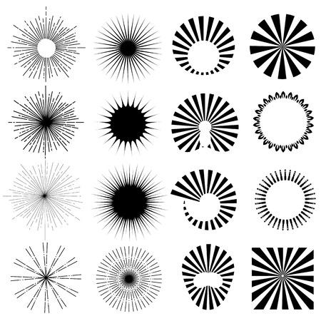 Ilustración de Vintage sun burst frames and design elements for your design. Retro style. Vector - Imagen libre de derechos