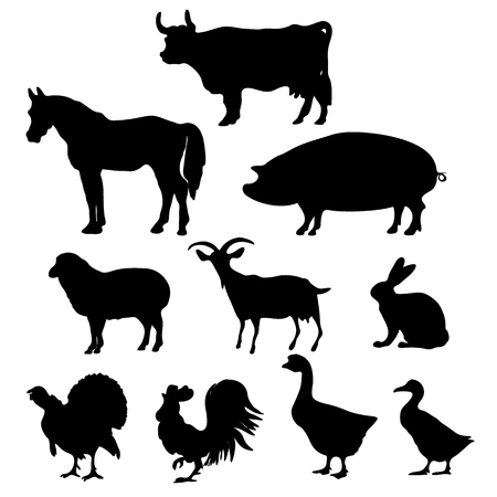 Illustration pour Vector Farm Animals Silhouettes Isolated on White Background. Vector illustration. - image libre de droit