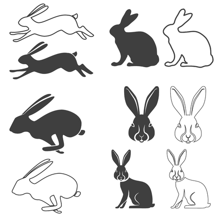 Set of vector silhouette of the rabbit, hare. Hare hunting. Rabbit silhouettes. Vector illustration.