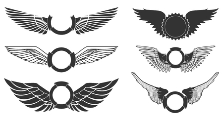Illustration for Wings with banners set on white background. Heraldic wings. Element for logo,label and emblems design. Vector illustration. - Royalty Free Image