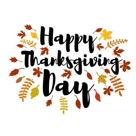 Happy Thanksgiving day. Vector greeting card.  Vector illustration.