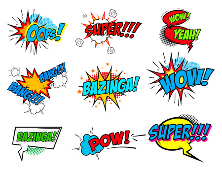 Ilustración de Set of comic text, Pop art style phrases. Waw, Pow, Bang-Bang, Super!, Bazinga, Oops! Vector design elements. - Imagen libre de derechos
