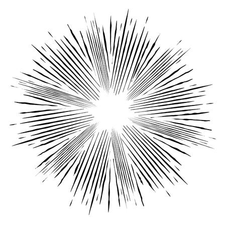 Ilustración de Comic style  black and white radial explosion. Superhero action. Explosion vector illustration. Vector design element. - Imagen libre de derechos