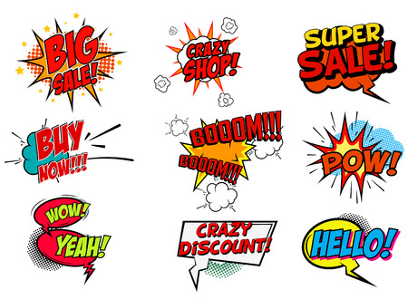 Illustration pour Set of pop art style phrases. Big Sale. Buy Now. Crazy Shop. Super Sale. Wow. Hello. Set of vector design elements. - image libre de droit