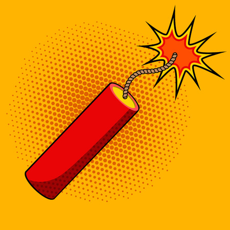Ilustración de Comic style dynamite on colorful background. Cartoon style dynamite stick. Design element in vector for logo, label, flyer, poster. - Imagen libre de derechos