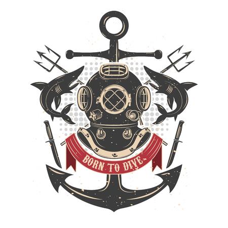 Ilustración de Vintage diving helmet with sharks and tridents. Divers club emblem template. Design element for , label, emblem, sign, badge. Vector illustration. - Imagen libre de derechos